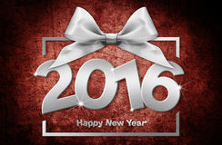 Happy new year 2016 silver text with box and ribbon on red. Grunge  background Royalty Free Stock Photography