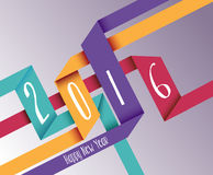Happy new year 2016 simple origami background Royalty Free Stock Photography