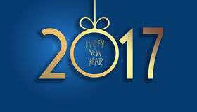 Happy New Year 2017. A simple paper card in 2017 on a blue background. Background of the New Year with snowflakes and bokeh Royalty Free Stock Images