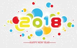 2018 happy new year  simple writing multicolour  with shading Stock Images