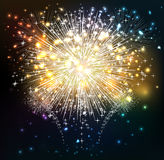 Happy New Year sky and fireworks. Beautiful Vector Fireworks for happy new year Royalty Free Stock Photo