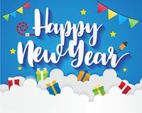 Happy New Year On Sky with Gift Box, Greeting Card Background Illustration Paper Art Stock Photos