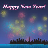 Happy new year skyline Royalty Free Stock Images