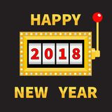 Happy New Year 2018. Slot machine. Golden Glowing lamp light. Jackpot. Red handle lever. Big win Online casino, gambling club sign Royalty Free Stock Image