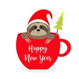Happy New Year. Sloth sitting in red coffee cup teacup. Fir tree. Santa hat. Face and hands. Cute cartoon baby character. Merry. Christmas. Hello winter. Slow royalty free illustration