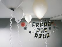 Happy New Year. A small happy new year party backdrop stock photos