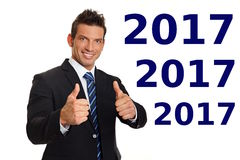 Happy new 2017 year with smiling businessman royalty free stock images