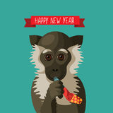 Happy New Year smiling cartoon monkey Stock Photo