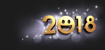 Happy New Year 2018 smiling Greeting card. Joyful New year date 2018 and smiling face on a glittering black background - 3D illustration Royalty Free Stock Image