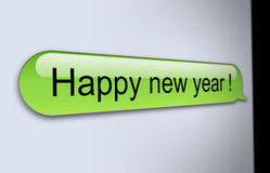 Happy new year sms. Happy new year message on mobile phone Royalty Free Stock Photography