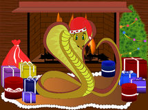 Happy New Year Snake with presents. Vector childish illustration Stock Photo