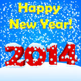 Happy new year 2014. With snow Royalty Free Stock Photo