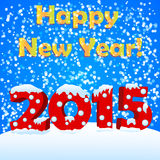Happy new year 2015. With snow royalty free illustration