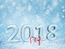 2018 happy new year snow background.merry Christmas,3d. Rendering Stock Images