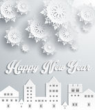 Happy New Year Snow City Design. Snowflake and holiday, comfort celebration, greeting merry december, season celebrate and festive, homey city, building Royalty Free Stock Photo