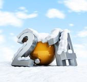 Happy new year 2014 snow-covered inscription against. The sky with clouds Stock Photo
