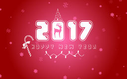 Happy new year 2017. With snow illustration background Stock Photography
