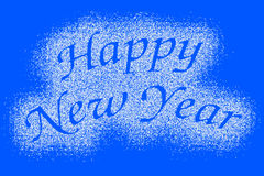 Happy New Year snow mark on blue Stock Photo