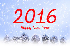 '2016 Happy New Year' with snow and pinecones Stock Images