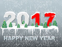 2017 happy new year snow simple. For web Stock Photo