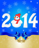 Happy New Year 2014 From Snow With Snowman. Greeting cards with blue bows. Vector illustration Stock Images