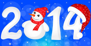 Happy New Year 2014 From Snow With Snowman. And Santa Hat stock illustration