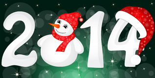 Happy New Year 2014 From Snow With Snowman. And Santa Hat vector illustration
