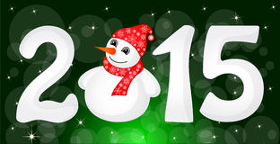 Happy New Year 2015 From Snow. With Snowman and Santa Hat vector illustration