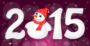 Happy New Year 2015 From Snow. With Snowman and Santa Hat. Vector stock illustration