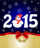 Happy New Year 2015 From Snow. With Snowman and Santa Hat. Vector vector illustration