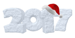 2017 Happy New Year snow text with red hat. Happy New Year creative holiday concept - 2017 new year sign text, written with numbers made of snow with Santa Stock Photos