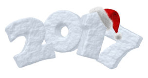 2017 Happy New Year snow text and red hat. Happy New Year creative holiday concept - 2017 new year sign text written with numbers made of snow and with Santa royalty free illustration