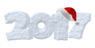 2017 Happy New Year snow text and red hat. Happy New Year creative holiday concept - 2017 new year sign text written with numbers made of snow and Santa Claus Royalty Free Stock Image