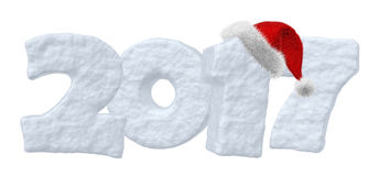 2017 Happy New Year snow text with red hat. Happy New Year creative holiday concept - 2017 new year sign text written with numbers made of snow with Santa Claus Royalty Free Stock Photo