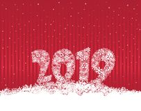 Happy New Year 2019. Snow winter holiday background. Christmas greeting card with lettering. Happy New Year 2019. Snow winter holiday red background. Christmas stock illustration