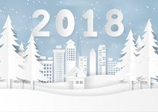 Happy new year 2018 on snow and winter season with urban landsca Royalty Free Stock Photos