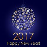 Happy New Year 2017 Snowball Background. Holiday Invitation or Greeting Card. Happy New Year 2017 Snowball Background. Holiday Invitation or Greeting Card with Royalty Free Stock Photos