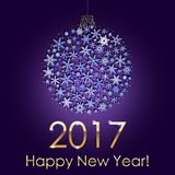 Happy New Year 2017 Snowball Background. Holiday Invitation or Greeting Card. Happy New Year 2017 Snowball Background. Holiday Invitation or Greeting Card with Royalty Free Stock Photography