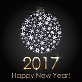 Happy New Year 2017 Snowball Background. Holiday Invitation or Greeting Card. Happy New Year 2017 Snowball Background. Holiday Invitation or Greeting Card with Stock Photo