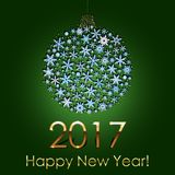 Happy New Year 2017 Snowball Background. Holiday Invitation or Greeting Card. Happy New Year 2017 Snowball Background. Holiday Invitation or Greeting Card with Stock Images