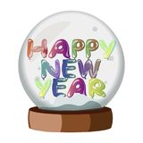 Happy New Year On Snowball. Vector illustration Royalty Free Stock Photography