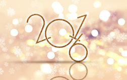 Happy New Year snowflake background. Happy New Year background with bokeh lights and glittery numbers Stock Images