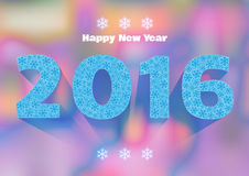 Happy New Year 2016. Snowflake background. Happy New Year 2016 greeting card. Snowflake background Stock Images
