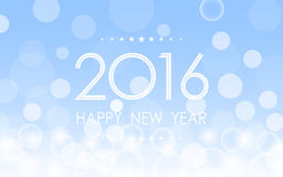 Happy new year 2016 with snowflake and bokeh pattern on winter blue background Royalty Free Stock Photography