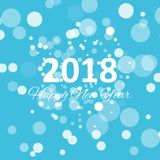 Happy new year 2018 with snowflake and bokeh pattern on winter blue background vector Royalty Free Stock Photography