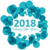 Happy new year 2018 with snowflake and bokeh pattern on winter blue background vector Stock Photography