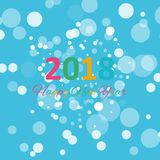Happy new year 2018 with snowflake and bokeh pattern on winter blue background vector Stock Photo