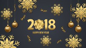 Happy new year 2018 snowflake celebration. Gold greeting decoration Royalty Free Stock Photo