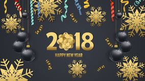 Happy new year 2018 snowflake and confetti celebration. Gold greeting decoration Stock Photography