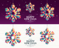 Happy new year 2016 snowflake triangle hipster Royalty Free Stock Image